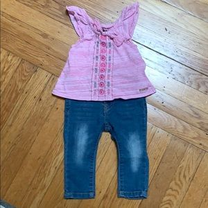 Designer toddler outfit. Hudson top and 7 jeans